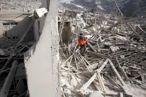 Následky erupce indonéské sopky Merapi
