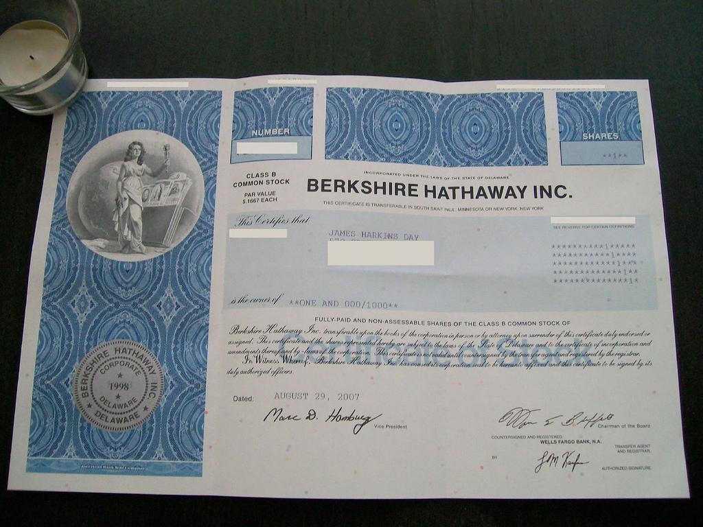 Akcie firmy Berkshire Hathaway
