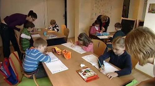 Jedna ze tříd školy bez hranic v Bruselu