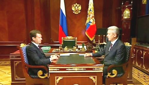 Dmitrij Medvěděv a Sergej Sobjanin
