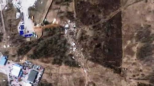 Místo havárie letadla polského prezidenta