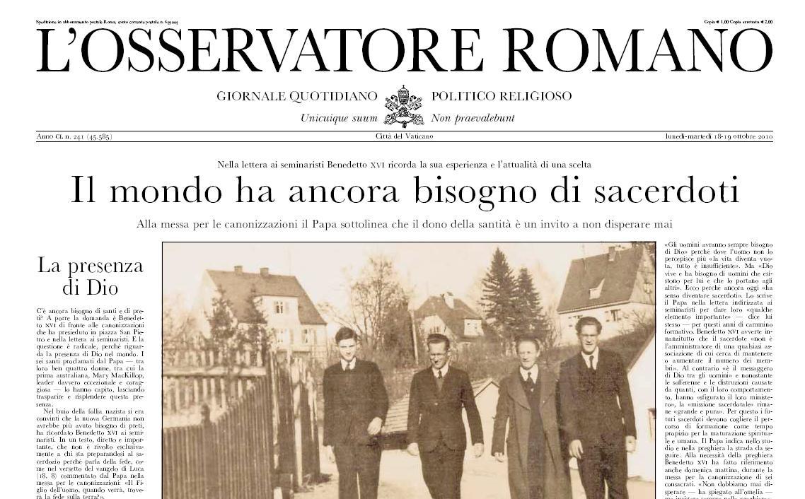 Osservatore Romano z 18. října 2010