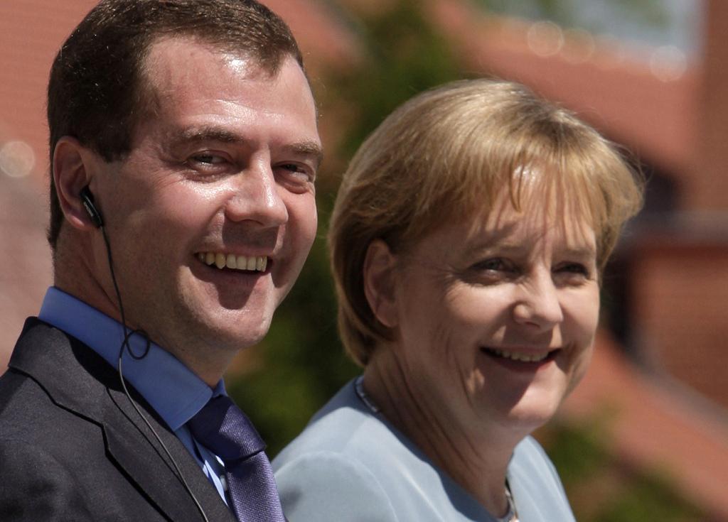 Angela Merkelová a Dmitrij Medvěděv