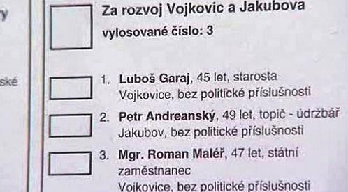 Volební lístek z Vojkovic