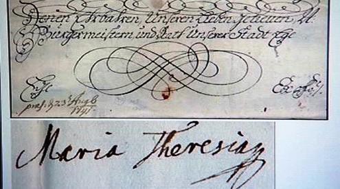 Listina s podpisem Marie Terezie