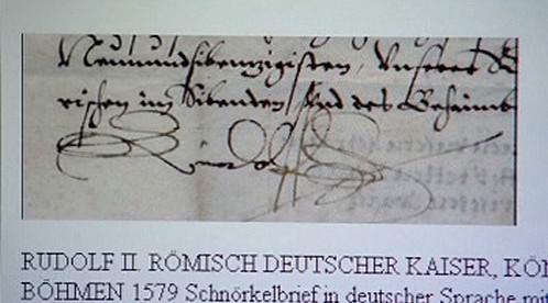 Listina s podpisem Rudolfa II.