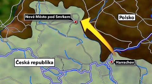 Mapa trasy přes Polsko