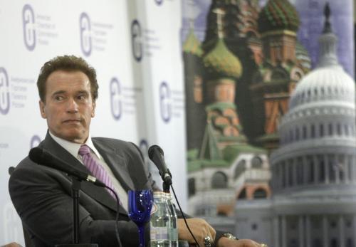 Arnold Schwarzenegger na návštěvě Moskvy