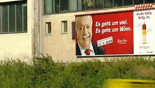 Michael Häupl na předvolebním billboardu