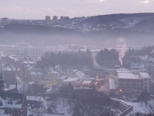 Vrstva smogu nad Brnem