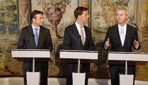 Mark Rutte, Maxime Verhagen a Geert Wilders