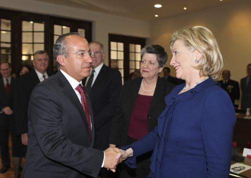 Felipe Calderón a Hillary Clintonová