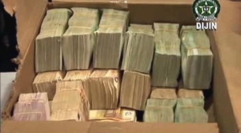 Peníze zabavené kolumbijskou policií