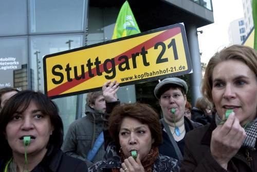Protesty proti kácení parku ve Stuttgartu
