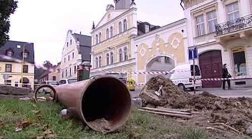 Budování kanalizace v Chrastavě