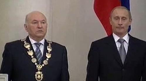 Jurij Lužkov a Vladimír Putin