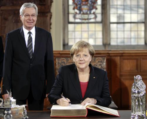 Angela Merkelová s brémským starostou