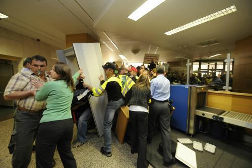 Demonstranti na ministerstvu vnitra