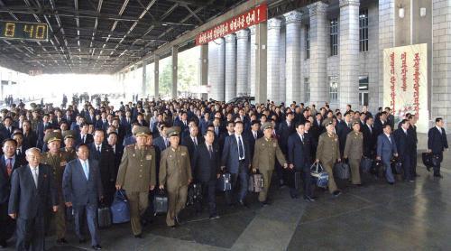 Delegáti přijíždí na kongres Korejské strany práce