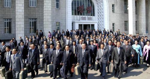 Příjezd delegátů na kongres Korejské strany práce