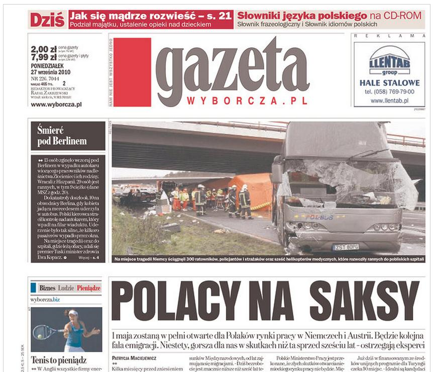 Gazeta wyborcza o tragédii polského autobusu