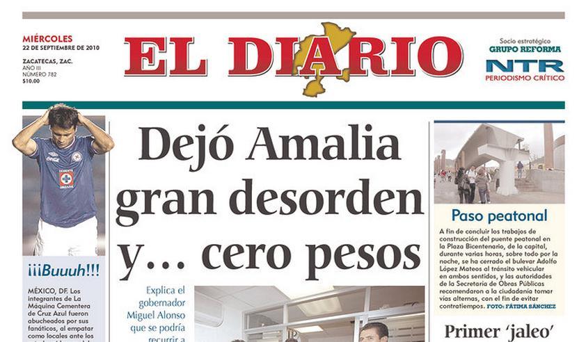 Mexický list El Diario vycházející ve státě Zacatecas