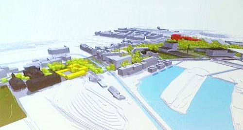 Model nové radnice a obchodního centra na Praze 8