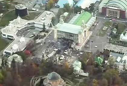 Průmyslový palác po ničivém požáru