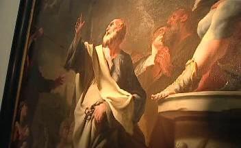 Sv. Petr při souboji se Šimonem Mágem / detail