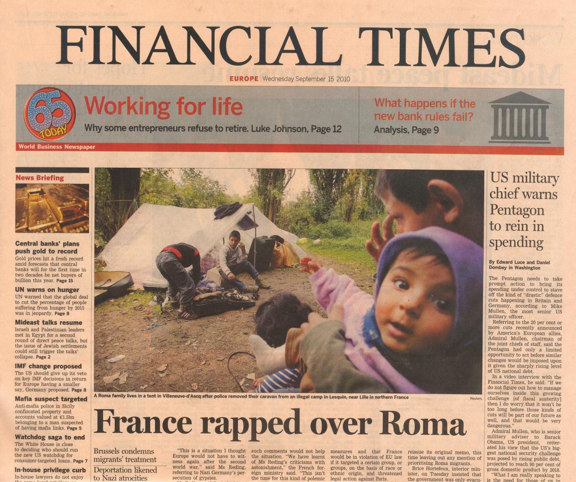 Vyhošťování Romů ve Financial Times