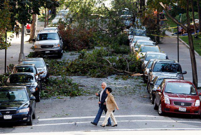Následky bouřky v New Yorku