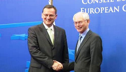 Petr Nečas a Herman Van Rompuy