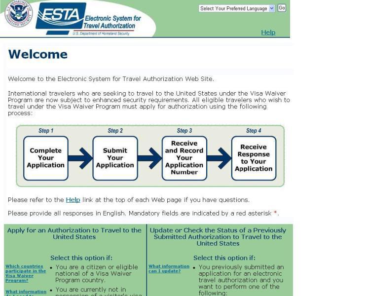 Online formulář ESTA