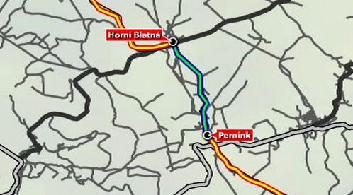 Mapa s vyznačením silnice