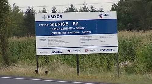 Cedule stavby silnice R6