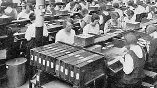 Továrna na výrobu cigaret z konce 19. století