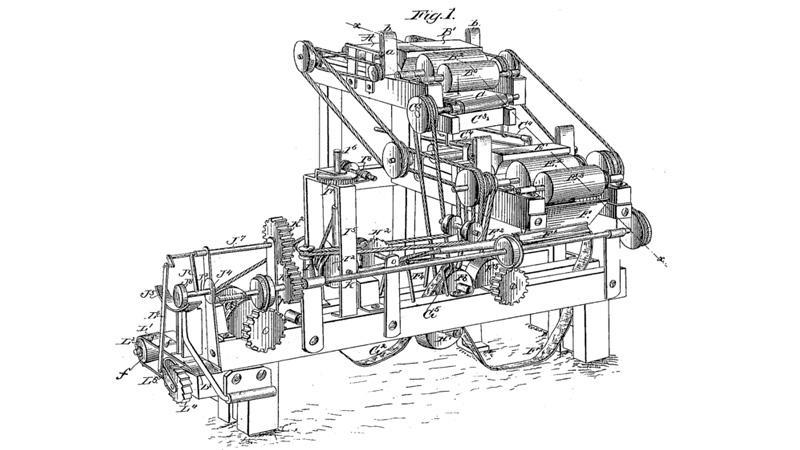 Schéma prvního stroje na výrobu cigaret