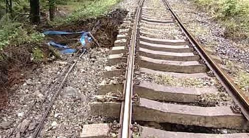 Poškozená trať po záplavách