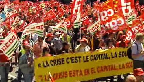 Demonstrace odborů v Madridu