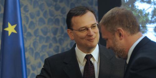 Premiér Petr Nečas a starosta Frýdlantu Dan Ramzer