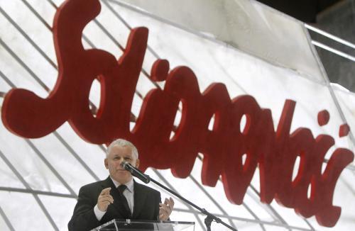 Jaroslaw Kaczyński na oslavách 30. výročí vzniku Solidarity