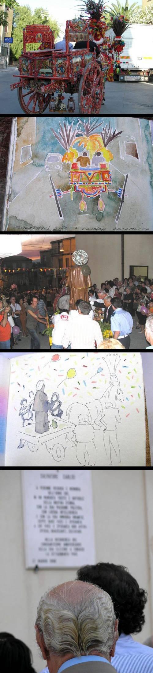 Dvoukolák (nahoře) a slavnost San Rocco (uprostřed) s obrazy T. Císařovského; Na slavnost je třeba se učesat (dole)