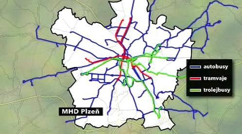 Mapa plzeňské MHD