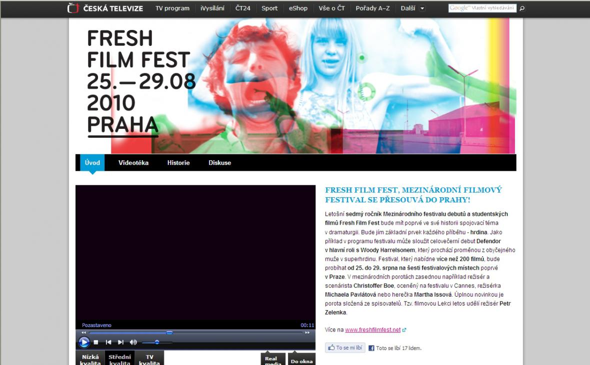 Web ČT Fresh Film Fest 2010