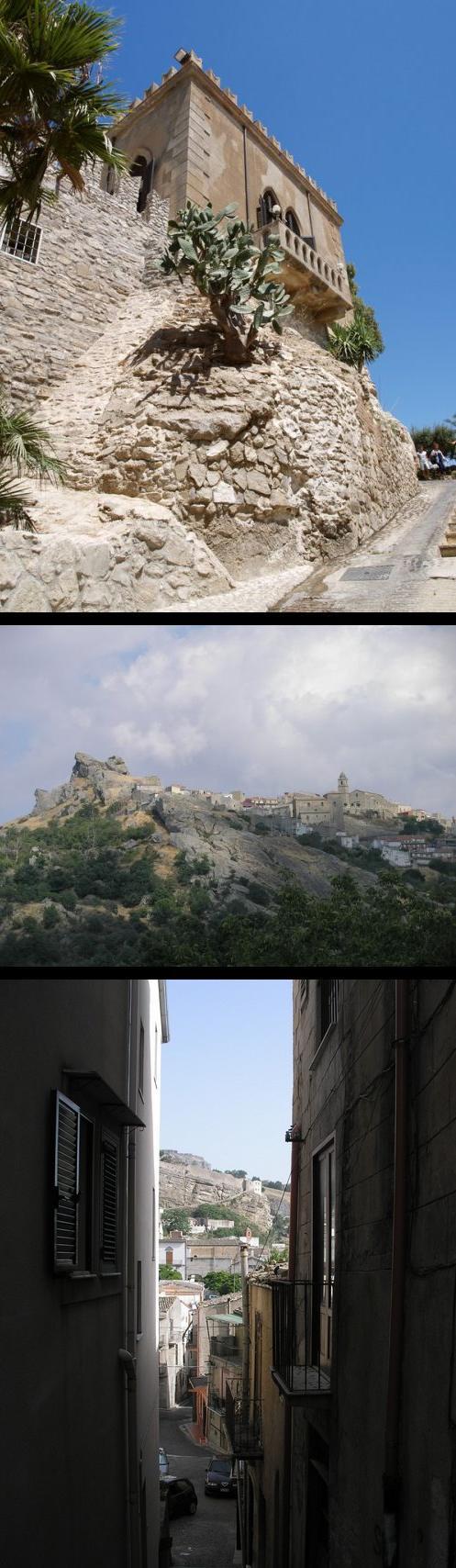Hrad v Siculianě (nahoře); Cerami (uprostřed); Ulička v Corleone (dole)