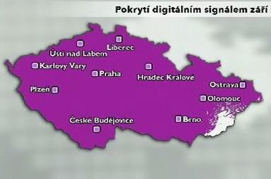 Pokrytí digitálním signálem září 2010