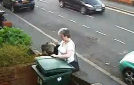 Žena vyhodila kočku do popelnice
