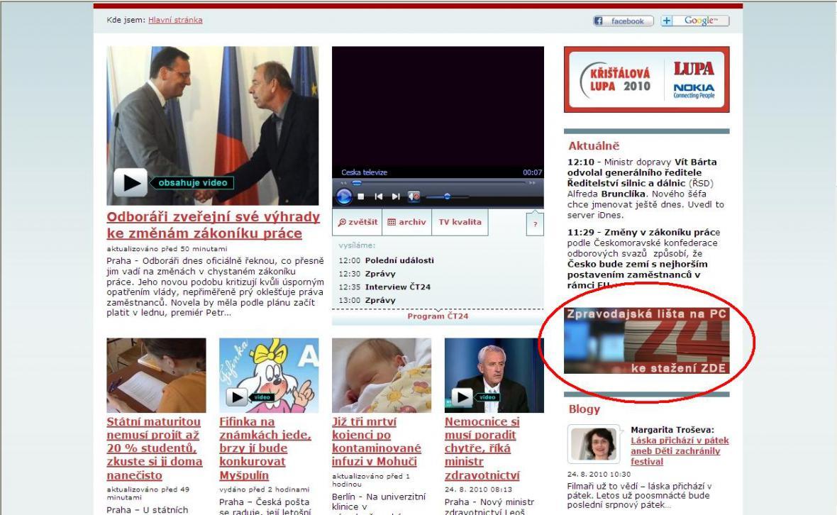 Lištu lze stáhnout přímo na webu ČT24