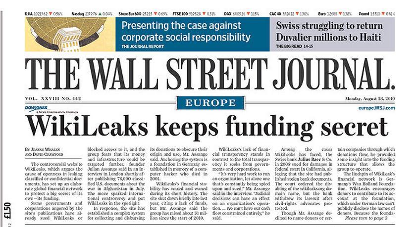 WSJ o financování WikiLeaks