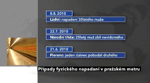Případy napadení  v pražském metru